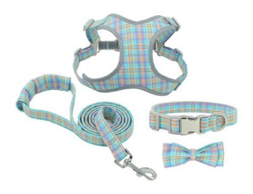 Cotton reflective chest strap bowknot dog harness